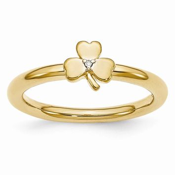Gold Tone Sterling Silver .005 Ct Diamond 6mm Clover Stackable Ring