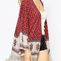 Red Boho-Printed Fringed Kimono – Lookbook Store