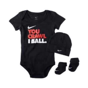 "Nike ""You Crawl, I Ball"" Three-Piece Newborn Boys' Gift Set Size 0-6M (Black)"