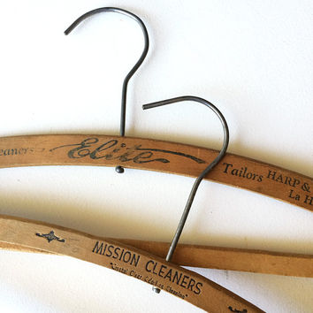 50s Advertising - Wooden Clothes Hangers - Set of 2 - Pants Hangers