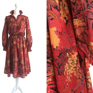 Vintage Betty Barclay Dress - 70s 1970s - Vintage Dress - Long Sleeve Shirt Dress - Russet Red And Gold - Autumn Flowers Dress