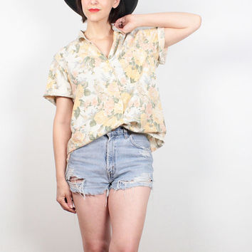 Vintage 90s Blouse 1990s Shirt Yellow Tan Floral Print Button Down Top Collared Shirt Boho Boyfriend Shirt Hipster Boxy Top M Medium L Large