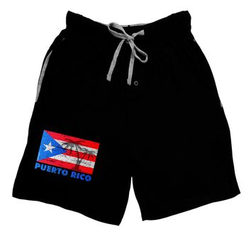 Distressed Puerto Rico Flag Adult Lounge Shorts