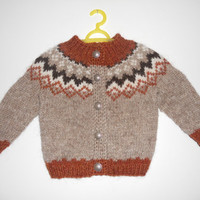 Christmas in July, Icelandic sweater with buttons, for 12-18 months old, handmade