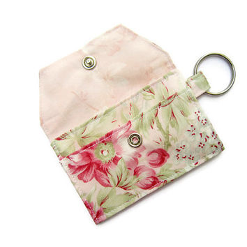 Mini key chain wallet/ simple ID Key chain pouch / keychain coin purse / Business card holder / Seaside Rose & light pink