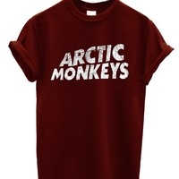 New Arctic Monkeys T-shirt Rock Band (Small, Maroon)