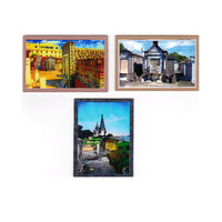 New Orleans Dark Art, Cemetery Crypts, ACEO Miniature Fine Art, Set of 3