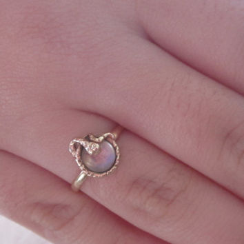 Shop Closing Sale Vintage Snake Blue Moonstone 14k Yellow Gold Ring Promise Ring Engagement Ring Gift Idea Serpent Jewelry Art Deco