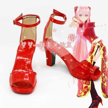 VOCALOID Megurine Luka qipao sweet lolita cos Halloween high heel shoes Custom made Cosplay Shoes Anime