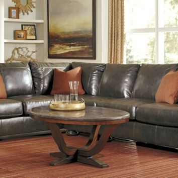 Ashley Furniture 31600-66-46-56 3 pc nesbit ii collection antique colored durablend bonded leather upholstered sectional sofa with nail head trim accents