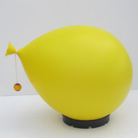 Balloon lamp designed by Yves Christin for Bilumen table or wall/ceiling light, Italy 1970s diffuser of blown plastic and black ABS base