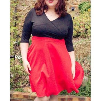 Plunging Neck 3/4 Sleeve Plus Size Skater Dress - Red 2xl