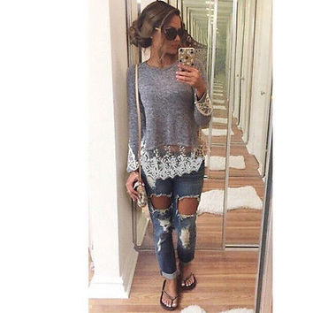 Hot New Fashion Women's Loose Long Sleeve Lace Casual Blouse Shirt Tops Blouse 2015