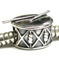 Queenberry Sterling Silver Stick Drum European Bead Charm