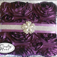 Gorgeous Satin, Dark Purple/Violet Rosette Fabric, & Bling Photo Album. Wedding Bridal Just Because Purple Lover's Gift