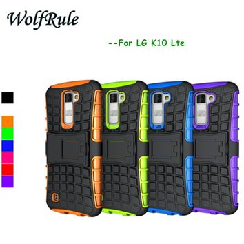 WolfRule For Phone Case LG K10 Cover Shockproof Silicone & Plastic Case For LG K10 Case K430DS K410 M2 Cell Holder Stand Cover<>