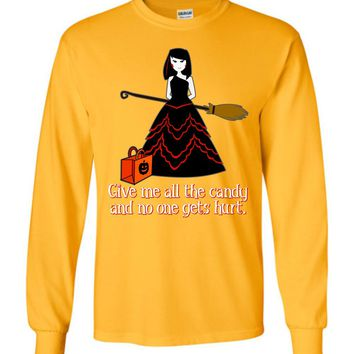 Funny Halloween Long-Sleeve T-Shirt: Young Witch