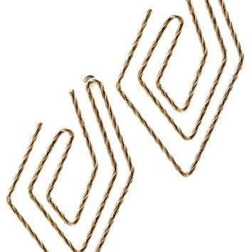 Peach Paper Clip Like Etched Metal Earring