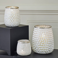 Silver Bubble Glass Tea Light Candle Holder