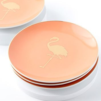 Patio Party Gold and Blush Flamingo Porcelain Appetizer Plates