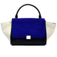 Suede Colorblock Wing Tote Bag