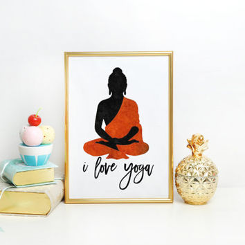 Wall Decals I Love Yoga Quote Gymnast Vinyl Sticker Decal Gym Decor Home Interior Design Art Murals Typographic Print Relax Inxale Ehxale