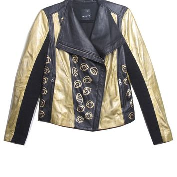 Suzanne Mallouk 'EYE SEE YOU' Gold Genuine Leather Jacket - IMMEDIATE | Patricia Field