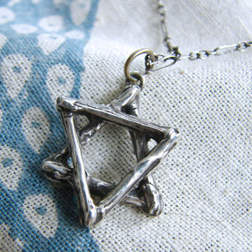 Silver Twig Star of David Necklace in Oxidized Silver