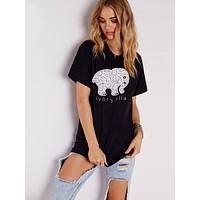 Trending Fashion Summer Black Ivory Ella Cartoon Elephant Printed Women Short sleeves Top Women T-Shirt Top