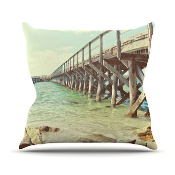 "Debbra Obertanec ""On The Pier"" Beach Throw Pillow"