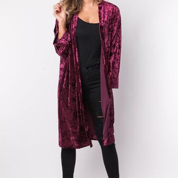 As You Wish Crushed Velvet Cardigan in Wine