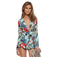 Floral V-neck Chiffon Long Sleeve Romper