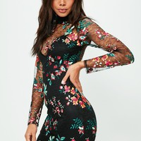 Missguided - Black Embroidered Lace Bodycon Dress