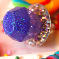 Candy Glam Purplicious Ring Pop - Candy Resin Glitter Ring - Kitsch Kawaii - Grape