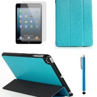TheHonestBill Crazy Horse Grain PU leather Tri-fold Stand Case Cover for Apple iPad Mini + Screen Protector Film + Stylus Pen [in Retail Packaging] (Sea Green)