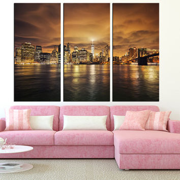 New York Manhattan wall art, large manhattan Skyline canvas print, Manhattan photo print Sephia colors wall art, modern wall decor t293