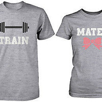 Cute Workout Matching Couple Shirts - Train Mates Grey Cotton Graphic Tees