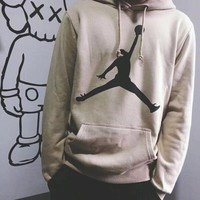 """Air Jordan"" Fashion Women Men Classic Simple Print Hoodie Cotton Sweater Lovers Sweatshirt Pullover Tops I"