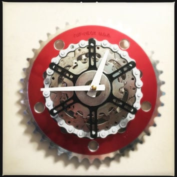 Wall Clock, Red Bicycle Clock, Bike Clock, Bicycle Wall Clock, Unique Cyclist Clock, Recycled Bike Parts Wall Clock
