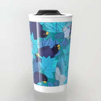 Tropical Art - Plants - Birds - Parrots Travel Mug by Salome