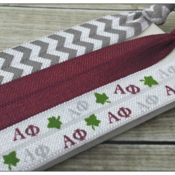 ALPHA PHI Hair Tie or Headband Set