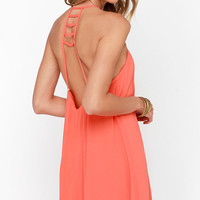 Afternoon Outing Coral Orange Swing Dress