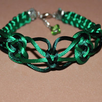 Ribbon grass and inc green bracelet macrame for the St. Patrick's day/ St Patty's day