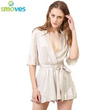 Smoves New Woman Relax Loose Fit Deep V Neck 3/4 Sleeve Silk Ruffled Romper Satin Playsuit Casual Jumpsuits S-XL Tan Peach Black