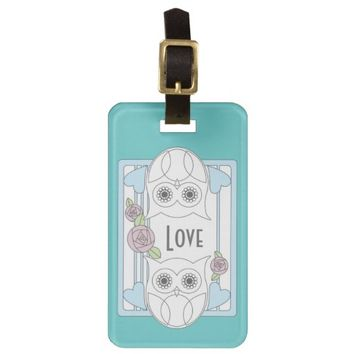 Retro Cute Owls & Roses Personalized Girly  Love Luggage / Bag Tags: Valentine's Day, Wedding, or Mother's Day Gift Idea