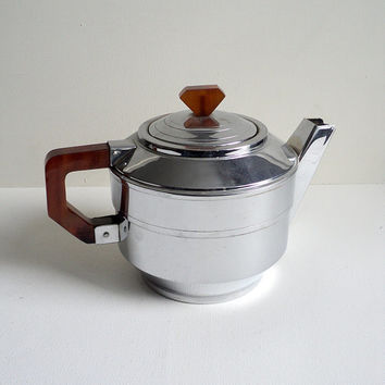 French Teapot, Art Deco Tea Pot, Brown Bakelite, French Teamaker, SFAMoka, Tea Time Service, Dinnerware, Tableware, French Serving