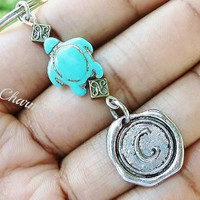 Sale...Turquoise turtle, keychain, bag charm, purse charm, monogram personalized item No.663