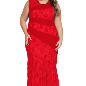 Plus Size Lace Maxi Mermaid Prom Summer Dresses