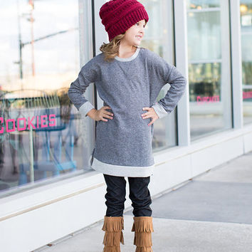 Girls Elbow Patch Terry Sweater Grey
