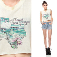 TEXAS Tank Top Cropped 80s Shirt The Eyes Are Upon by ShopExile